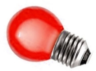 This is a 1W 26-27mm ES/E27 Golfball bulb that produces a Red light which can be used in domestic and commercial applications