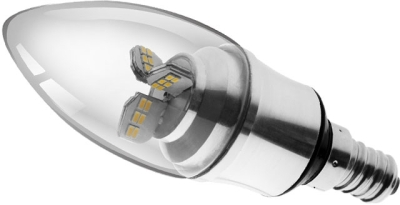 This is a 4 W 14mm SES/E14 Candle bulb that produces a Warm White (830) light which can be used in domestic and commercial applications