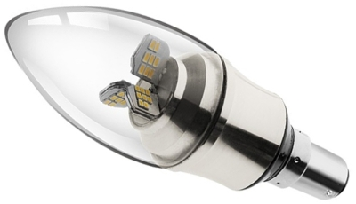 This is a 5.5 W 15mm Ba15d/SBC Candle bulb that produces a Very Warm White (827) light which can be used in domestic and commercial applications