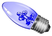This is a 1W 26-27mm ES/E27 Candle bulb that produces a Blue light which can be used in domestic and commercial applications