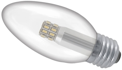 This is a 3 W 26-27mm ES/E27 Candle bulb that produces a Warm White (830) light which can be used in domestic and commercial applications