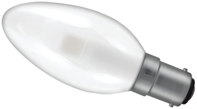 This is a 3 W 15mm Ba15d/SBC Candle bulb that produces a Warm White (830) light which can be used in domestic and commercial applications