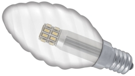This is a 3 W 14mm SES/E14 Candle bulb that produces a Warm White (830) light which can be used in domestic and commercial applications