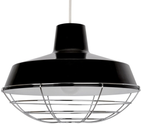 This is a Black finish light fitting that has a diameter of 370 mm and takes a Bayonet light bulb produced by MiniSun