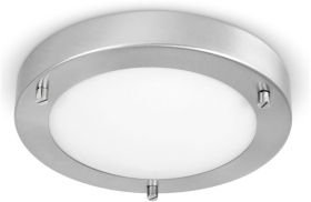 This is a Satin Nickel/Frosted finish light fitting that has a diameter of 180 mm and takes a 2 Pin light bulb produced by MiniSun