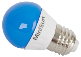 This is a 4 W 26-27mm ES/E27 Golfball bulb that produces a Blue light which can be used in domestic and commercial applications