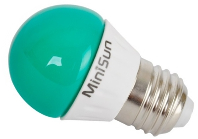This is a 4 W 26-27mm ES/E27 Golfball bulb that produces a Green light which can be used in domestic and commercial applications