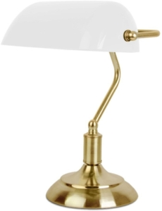 MiniSun Traditional Bankers Lamp Opal & Antique Brass