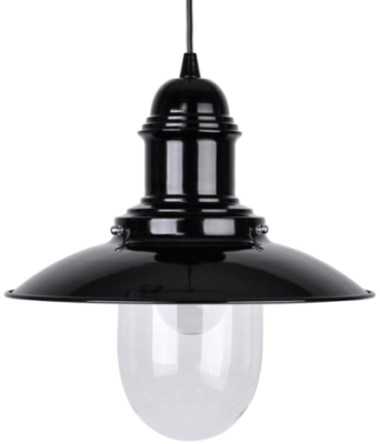 This is a Black finish light fitting that has a diameter of 305 mm and takes a Screw In light bulb produced by MiniSun