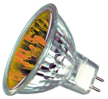 This is a 20W GU4/GZ4 Reflector/Spotlight bulb that produces a Yellow light which can be used in domestic and commercial applications