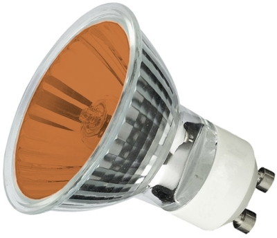 This is a 35W GU10 Reflector/Spotlight bulb that produces a Amber light which can be used in domestic and commercial applications