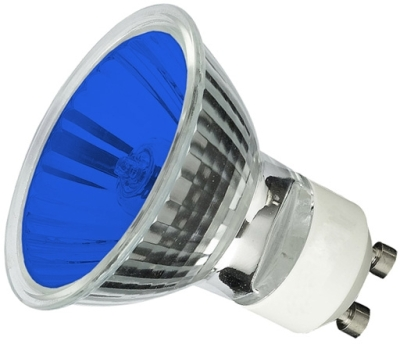 This is a 35W GU10 Reflector/Spotlight bulb that produces a Blue light which can be used in domestic and commercial applications