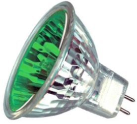 This is a 35W GX5.3/GU5.3 Reflector/Spotlight bulb that produces a Green light which can be used in domestic and commercial applications