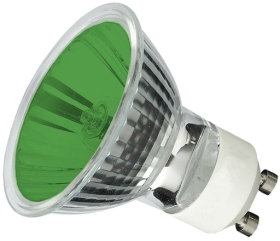This is a 50W GU10 Reflector/Spotlight bulb that produces a Green light which can be used in domestic and commercial applications