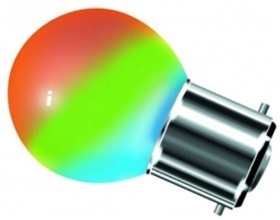 This is a 0.5 W Golfball bulb that produces a RGB light which can be used in domestic and commercial applications