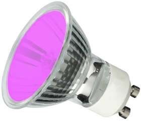 This is a 50W GU10 Reflector/Spotlight bulb that produces a Magenta light which can be used in domestic and commercial applications