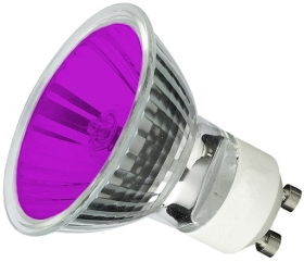 This is a 50W GU10 Reflector/Spotlight bulb that produces a Purple light which can be used in domestic and commercial applications