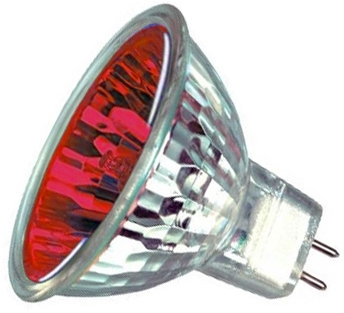 This is a 50W GX5.3/GU5.3 Reflector/Spotlight bulb that produces a Red light which can be used in domestic and commercial applications