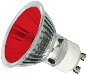 This is a 35W GU10 Reflector/Spotlight bulb that produces a Red light which can be used in domestic and commercial applications