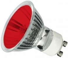 This is a 50W GU10 Reflector/Spotlight bulb that produces a Red light which can be used in domestic and commercial applications