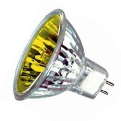This is a 35W GX5.3/GU5.3 Reflector/Spotlight bulb that produces a Yellow light which can be used in domestic and commercial applications