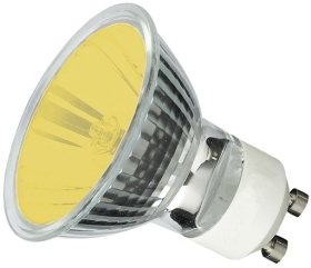 This is a 50W GU10 Reflector/Spotlight bulb that produces a Yellow light which can be used in domestic and commercial applications