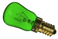 This is a 15W 14mm SES/E14 Pygmy bulb that produces a Green light which can be used in domestic and commercial applications