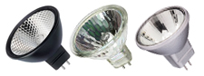White, Black and Silver backed MR16 Light Bulbs