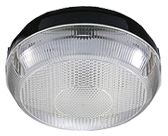 This is a Black/Clear finish light fitting that has a diameter of 200mm and takes a 4 Pin light bulb