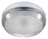 This is a White/Clear finish light fitting that has a diameter of 200mm and takes a 4 Pin light bulb