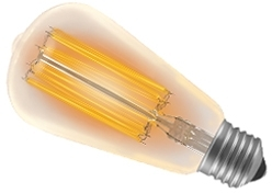 This is a 100 W 26-27mm ES/E27 Squirrel Cage bulb that produces a Very Warm White (827) light which can be used in domestic and commercial applications