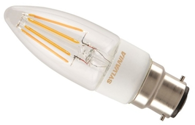 This is a 4.5 W 22mm Ba22d/BC Candle bulb that produces a Very Warm White (827) light which can be used in domestic and commercial applications