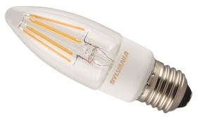 This is a 4.5 W 26-27mm ES/E27 Candle bulb that produces a Very Warm White (827) light which can be used in domestic and commercial applications