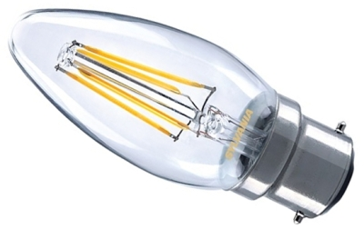 This is a 2.5 W 22mm Ba22d/BC Candle bulb that produces a Very Warm White (827) light which can be used in domestic and commercial applications