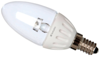 This is a 3.8 W 14mm SES/E14 Candle bulb that produces a Very Warm White (827) light which can be used in domestic and commercial applications