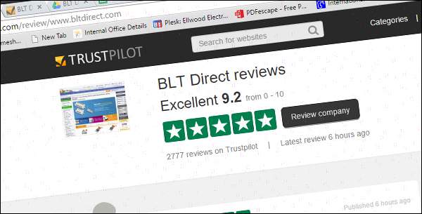 BLT Direct Trust Pilot Rating Screengrab